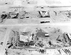 Aircraft hangars at Clark Air Base destroyed by ashfall