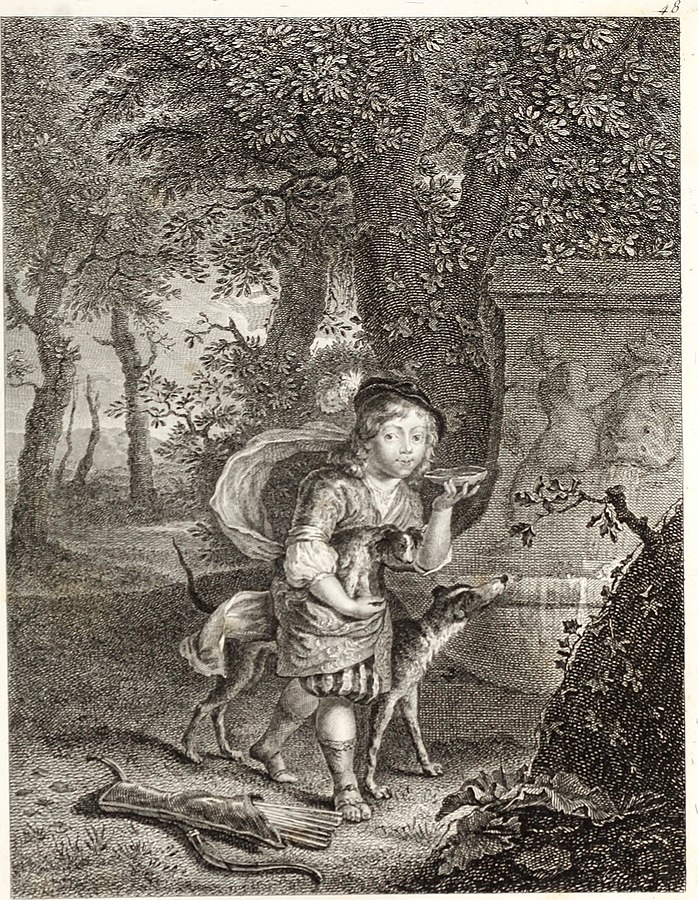 Young Boy with a Shell and a Dog