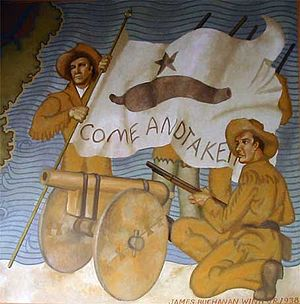"Battle of Gonzales - Museum mural of Texian soldiers fighting in the Battle of Gonzales, which was referred to as the ""Lexington of Texas"" because it was the first battle of the Texas Revolution"