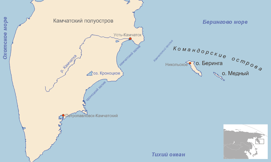 Map showing the position of the Commander Islands to the east of Kamchatka. The larger island to the west is Bering Island; the smaller island is Medny.
