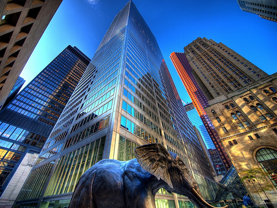 Commerce Court and mammoth statue