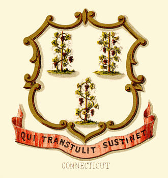 Seal of Connecticut - Connecticut Historical coat of arms (illustrated, 1876)