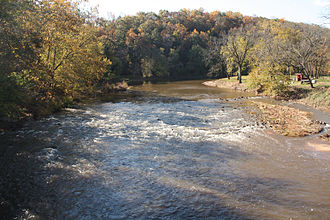 Conewago Creek (west) - facing south and upstream from bridge on Kunkle Mill Road, York County