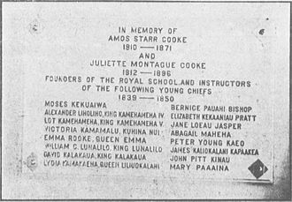 Mary Polly Paaaina - The Cooke Memorial Tablet at Kawaiahaʻo Church commemorating the sixteen royal children and their teachers