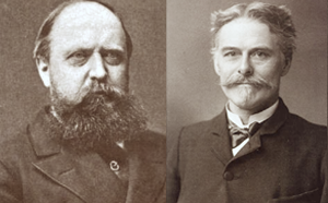 "Timeline of United States discoveries - The rivalry between Othniel Charles Marsh (left) and Edward Drinker Cope (right) sparked the ""Bone Wars."""
