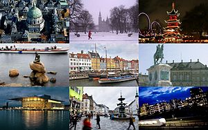 Clockwise: The Marble Church, Rosenborg Castle, Tivoli Gardens, the Little Mermaid, Nyhavn, Amalienborg Palace, Operaen, Amagertorv, Metro