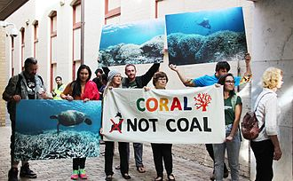 Environmental threats to the Great Barrier Reef - A protest against the Adani Carmichael mine, 2016.