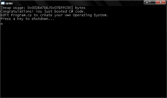 Cosmos (operating system) - Default Cosmos boot screen as seen in QEMU.