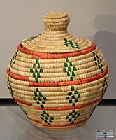 Covered Basket, Eskimo, Alaska, undated, coiled dyed and undyed rye grass - Chazen Museum of Art - DSC01852.JPG