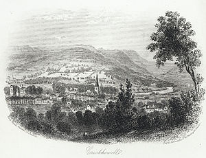 Crickhowell - General view of the town, ca. 1860