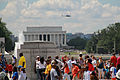 Crowd at WWII memorial and Lincoln Memorial - 50th Anniversary of the Civil Rights March on Washington for Jobs and Freedom.jpg