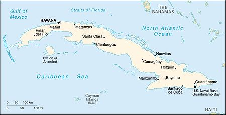 This is a white on blue map of Cuba as would be seen in a World Atlas.