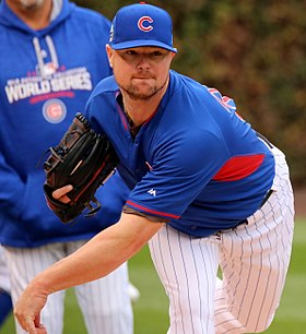 Cubs lefty Jon Lester throws a bullpen session at Wrigley Field. (29987275543) (cropped).jpg