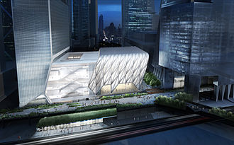 The Shed (Hudson Yards) - Aerial view of the architect's rendering of the proposed Shed structure at night