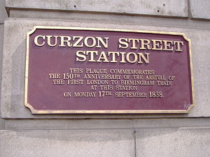 London and Birmingham Railway - Plaque at Curzon Street station commemorating the arrival of the first train from London to Birmingham