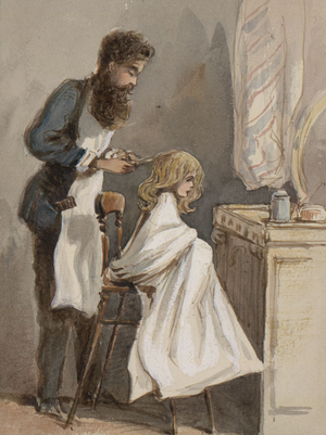 Hairdresser - A hairdresser cutting a child's hair, March 26, 1866