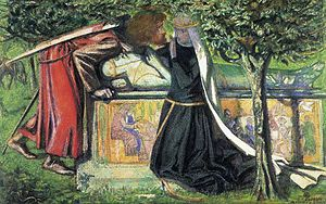 Historicity of King Arthur - Arthur's Tomb, a watercolour of 1855 by Dante Gabriel Rossetti.