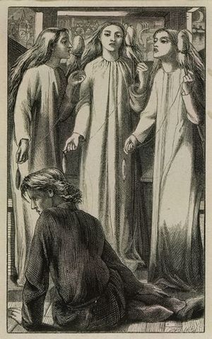 Unrepentant Geraldines - Rosetti's woodcut illustration The Maids of Elfen-Mere (1855) was originally made for a poem by William Allingham.