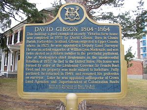 David Gibson (Canadian politician) - A provincial plaque tells of David Gibson's storied life.