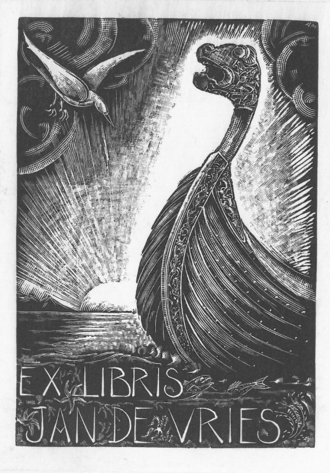 Jan de Vries (linguist) - An ex libris plate from a book belonging to Jan de Vries.
