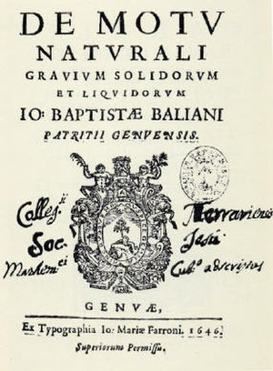 Giovanni Battista Baliani -  Title page of De motu naturali gravium solidorum et liquidorum, 1646