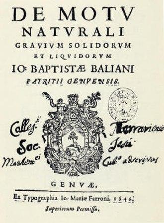Giovanni Battista Baliani - Title page of De motu naturali gravium solidorum et liquidorum, 1646
