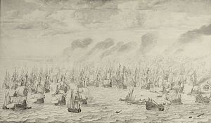 Naval history of the Netherlands - Image: De slag bij Terheide The Battle of Schevening August 10 1653 (Willem van de Velde I, 1657)
