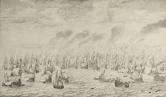 Royal Netherlands Navy - The battle of Scheveningen in 1653 during the First Anglo-Dutch War