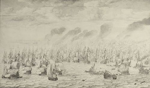 The Anglo-Dutch Wars were fought between the English and the Dutch for control over the seas and trade routes. De slag bij Terheide - The Battle of Schevening - August 10 1653 (Willem van de Velde I, 1657).jpg