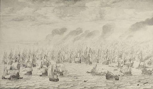De slag bij Terheide - The Battle of Schevening - August 10 1653 (Willem van de Velde I, 1657)