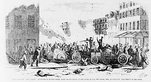 Gangs in the United States - View of fight between two gangs, the Dead Rabbits and the Bowery Boys, New York City, 1857