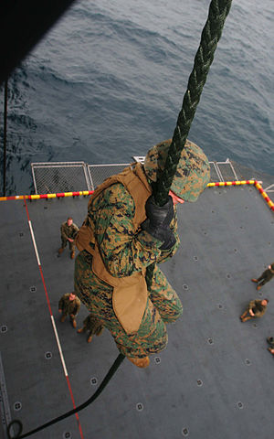Fast-roping - US Marines fast-roping from a CH-46E Sea Knight helicopter during a training exercise