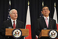 Defense Secretary Robert M. Gates, left, stands beside Japanese Minister of Foreign Affairs Takeaki Matsumoto, right, at a news conference following the U.S.-Japan Security Consultative Committee meeting with 110621-F-RG147-386.jpg