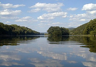 The river within the southern portion of the Delaware Water Gap National Recreation Area, near Worthington State Forest in New Jersey Delaware River DWG USA.jpg