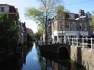 The Little Street - Voldersgracht, where the artist grew up in Delft