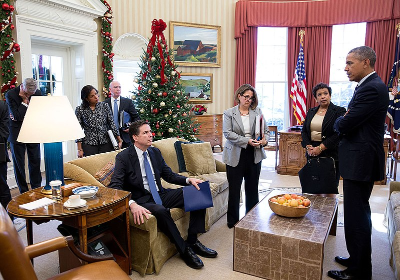 Denis McDonough, Susan E. Rice, James Comey, Alejandro N. Mayorkas, Lisa Monaco, Loretta Lynch.jpg