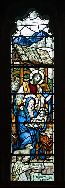 Derry St Columb's Cathedral North Vestibule Cecil Frances Alexander Memorial Window Detail Nativity 2013 09 17.jpg