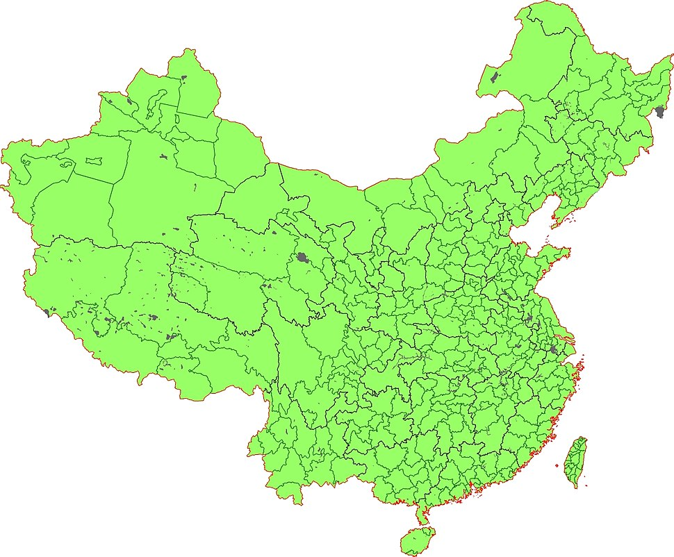 Detailed prefecture map PRC Taiwan