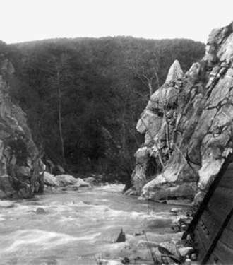 "Arroyo Seco (Los Angeles County) - The Devil's Gate at the Arroyo Seco River prior to 1920 damming. Note the ""devil's profile"" in the rock to the right."