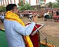 Dharmendra Pradhan addressing the launching ceremony of the ONGC CSR Project of Mayurbhanj Goatary Development Project, at Sankerko Village, Badasahi Block in Mayurbhanj district of Odisha.JPG