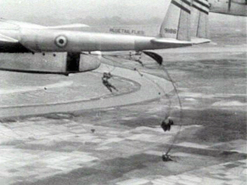 French-marked USAF C-119 flown by CIA pilots over Dien Bien Phu in 1954 Dien bien phu castor or siege deinterlaced.png