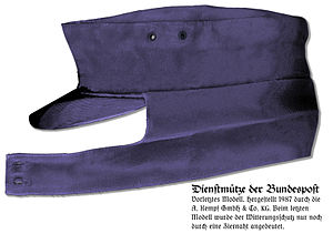 Ski cap - Modern German mailman's cap, with ear flaps turned down