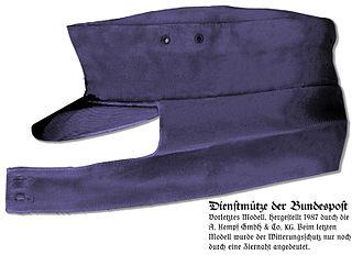 Ski cap - Modern German mailman's cap, with ear flaps turned down