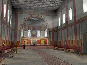 Aula regia - Image: Digitale Rekonstruktion Geometrische Ausmalung, Innenansicht