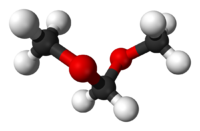 Ball and stick model of dimethoxymethane