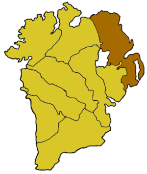 Ulaid - Highlighted in brown, the diocese of Down and Connor, having been united in 1439. Directly south of it is the diocese of Dromore.