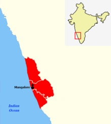 Map highlighting districts falling under the Mangalore Diocese