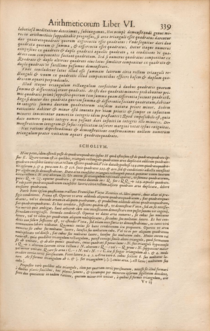 Fermat's Last Theorem - Fermat's infinite descent for Fermat's Last Theorem case n=4 in the 1670 edition of the Arithmetica of Diophantus (pp. 338–339).