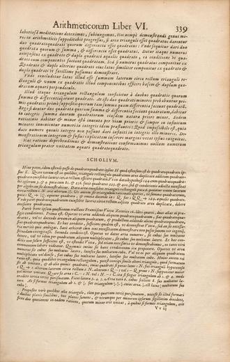 Fermat's Last Theorem - Fermat's infinite descent for Fermat's Last Theorem case n=4 in the 1670 edition of the Arithmetica of Diophantus (pp. 338–339).