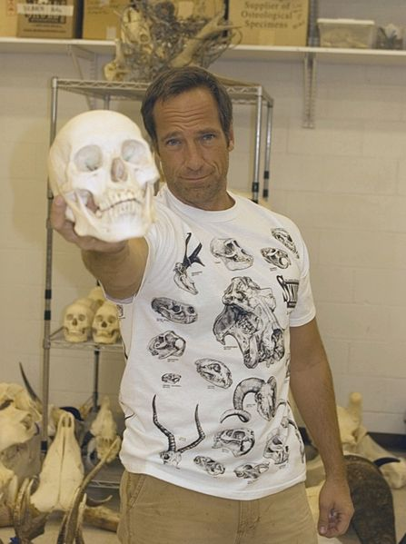 Mike Rowe poses for a photo during filming at Skulls Unlimited International.